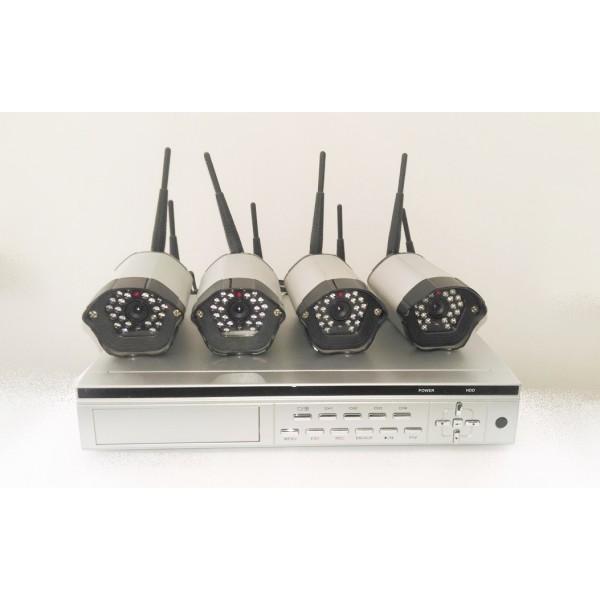 4 belaidžių analoginių kamerų komplektas su DVR