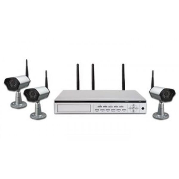 3 belaidžių analoginių kamerų komplektas su DVR
