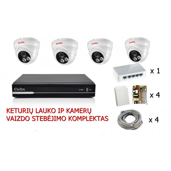 4 White Light IP lauko kamerų rinkinys, 30m