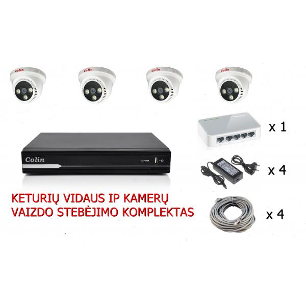 4 IP kamerų rinkinys patalpoms, 30m
